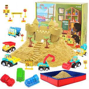 Arena mágica con 6 vehículos de juguete y arenero plegable para niños