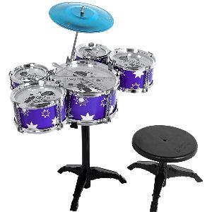Batería de jazz para niños, kit de percusión con taburete