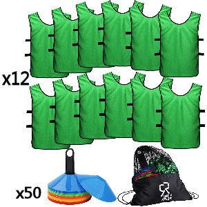 Bolsa con petos verdes y conos para entrenamiento