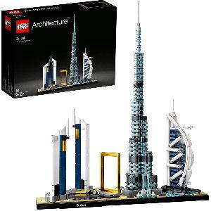 Ciudad de Dubai de LEGO con 640 piezas para coleccionistas adultos, Skyline de la ciudad con sus famosos rascacielos como el Burj Khalifa