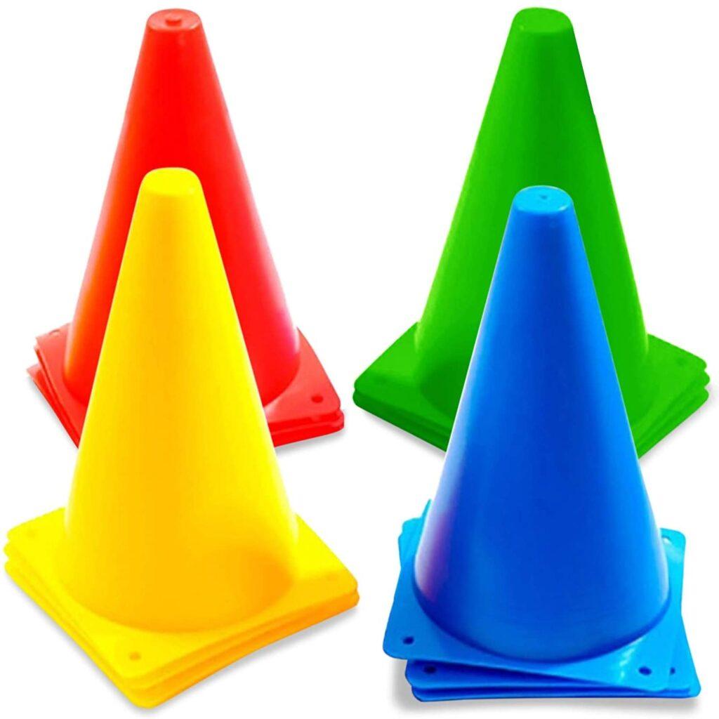 Conos altos para entrenamiento, set de 12 conos de 4 colores, 23 cm. de alto