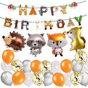Decoración de cumpleaños con animales del bosque