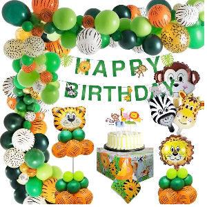 Decoración fiesta cumpleaños animales globos de tigre, león, mono, cebra y jirafa