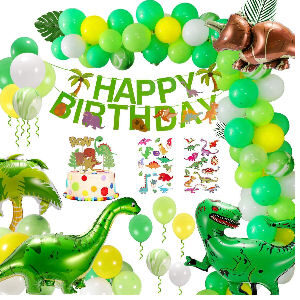 Decoración fiesta cumpleaños dinosaurios tiranosaurio Rex, diplodocus y triceratops