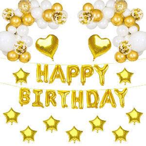 Decoración fiesta cumpleaños dorada oro