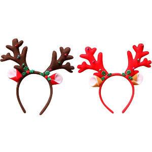 Diademas de navidad de renos, pack de 2 diademas de renos con orejas y decoración navideña