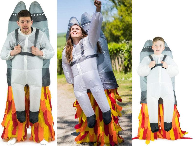Disfraz hinchable cohete en despegue para toda la familia espaciotrastornada 2