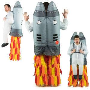 Disfraz hinchable cohete para padres espaciotrastornados