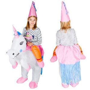 Disfraz hinchable de unicornio para niñas y niños, talla de 5 a 11 años