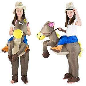 Disfraz hinchable de vaquera con caballo