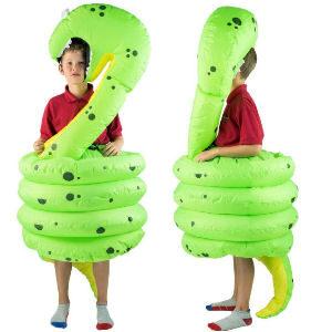Disfraz hinchable serpiente vibora deborando para niños