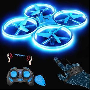 Dron con luz para niños y control con mando o guante G sensor