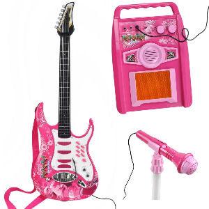 Guitarra para niñas con amplificador y micrófono