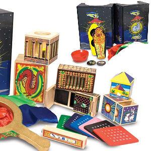 Juego de magia con 10 trucos para niños, bola que desaparece, la caja de la moneda mágica, las sedas mágicas, el cubo que desaparece