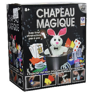 Juego de magia para niños con sombrero y accesorios, cartas, cubiletes, conejos de papel, pañuelos