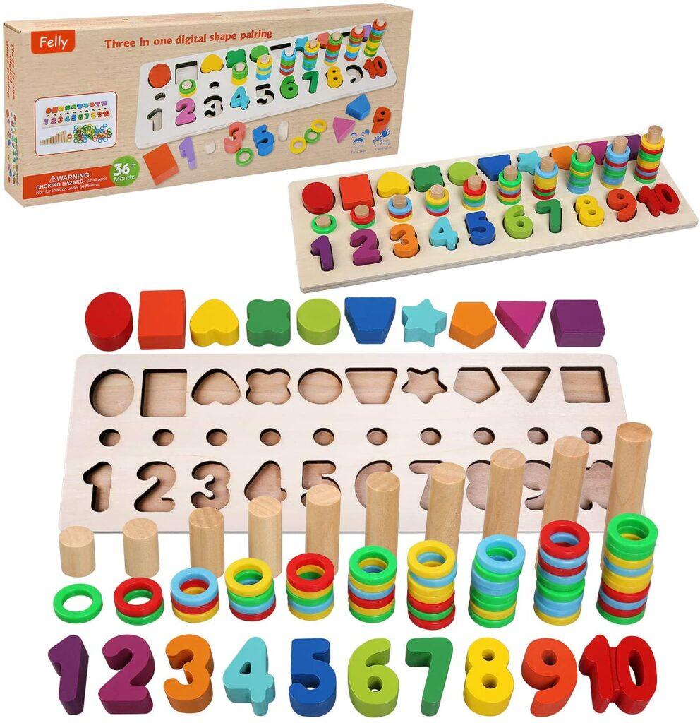 Juguete Montessori educativo para niños, para aprender los números, colores y las formas 2