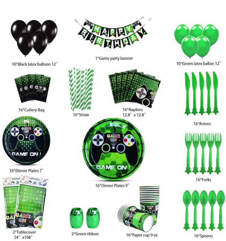 Kit de decoración de cumpleaños con vasos y platos con temática gamer