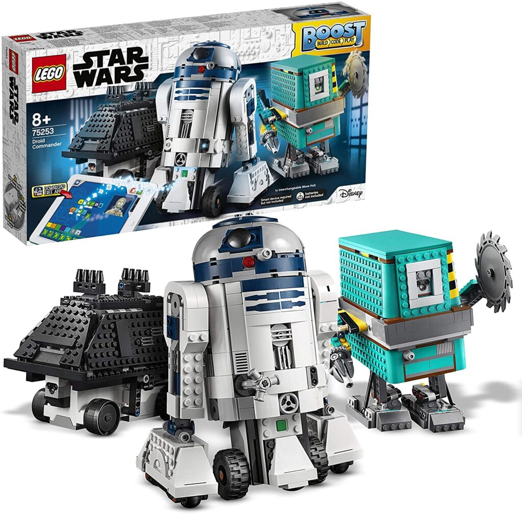 Lego Star Wars androides R2-D2, Gonk Droid y Mouse Droid, robots interactivos y programables