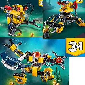 Lego robot submarino 3 en 1, submarino con brazo robótico o centro de búsqueda de tesoros para construir