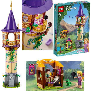 Lego torre castillo de Rapunzel Enredados con personajes Rapunzel y Flynn Rider