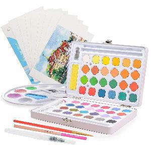 Maletin de pintura con acuarelas para niños con pinceles