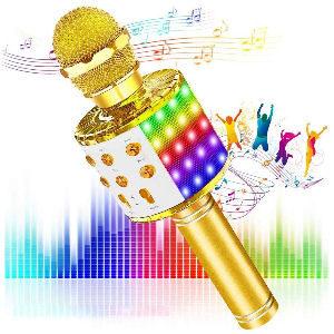 Micrófono dorado con luces LED y altavoz para hacer karaoke