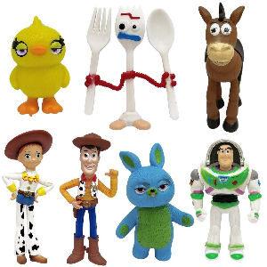 Pack con figuras de Toy Story 4, incluye 7 figuras de la cuarta película de Toy Story, Woody, Perdigón, Jessie, Forky, Buzz Lightyear