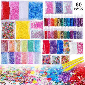Pack de Slime XXL, con slime, purpurina, bolas, hasta 60 accesorios