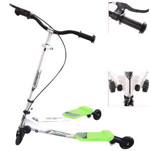 Patín de 3 ruedas para niños, scooter verde plegable con freno