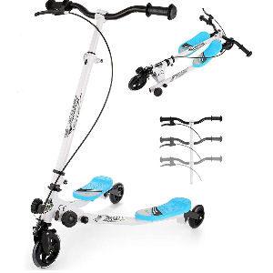 Patinete de 3 ruedas azul para niños, scooter plegable con freno para niños de 4 a 12 años