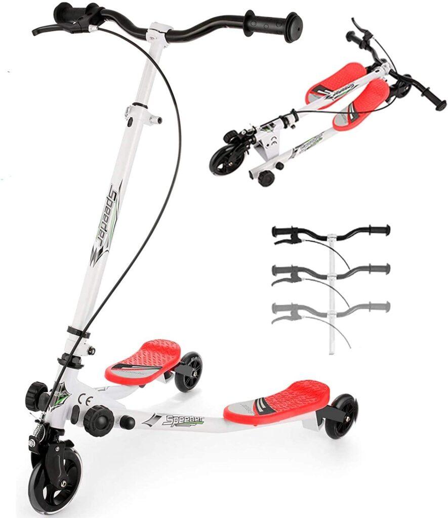 Patinete de 3 ruedas para niños, scooter plegable con freno para niños