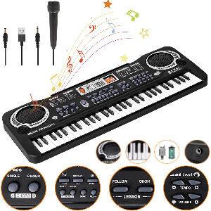 teclado Piano para niños con micrófono