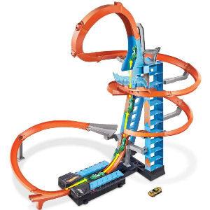 Pista de coches hot wheels para niños, incluye rampa de 80 cm., un coche y garaje para guardar 20 coches
