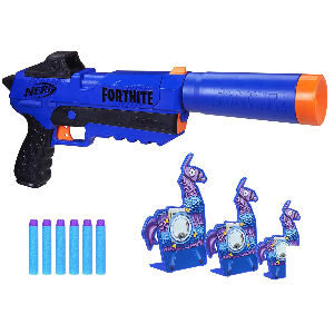 Pistola con dianas de Llama Nerf Fortnite, dispara dardos a las llamas diana