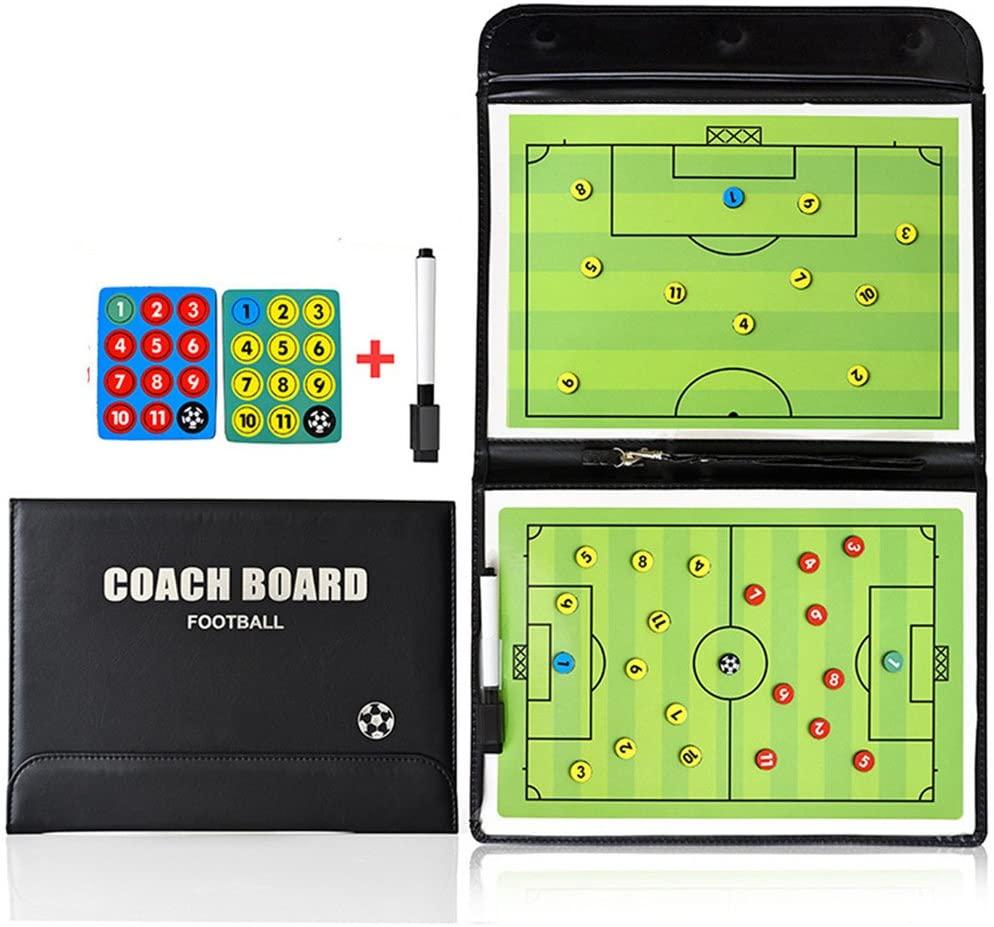 Pizarra para entrenadores de fútbol, con números para indicar jugadas y posiciones