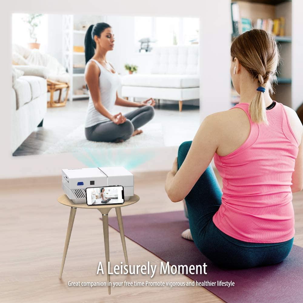 Proyector para madres, haz tus ejercicios de yoga en pantalla grande