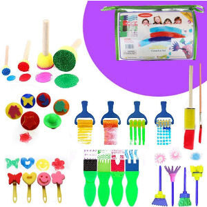 Rodillos y pinceles para hacer diferentes trazos de pintura para niños