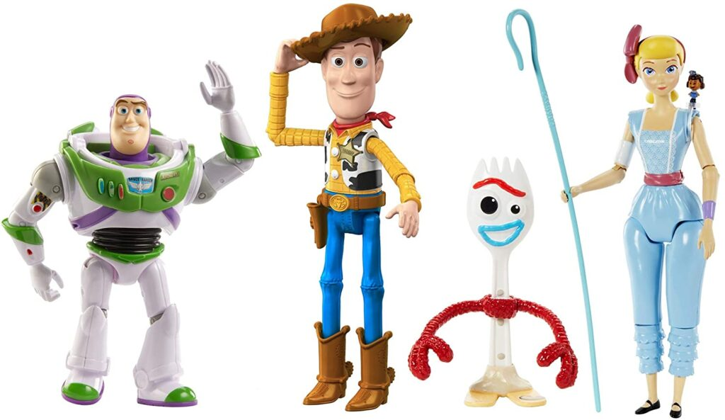 Set de figuras de Toy Story 4, incluye a Woody, Forky, Jessie y Buzz Lightyear