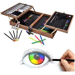Set de pintura avanzado, kit con 127 piezas, maletín de madera con óleos, acuarelas, lapices de colores