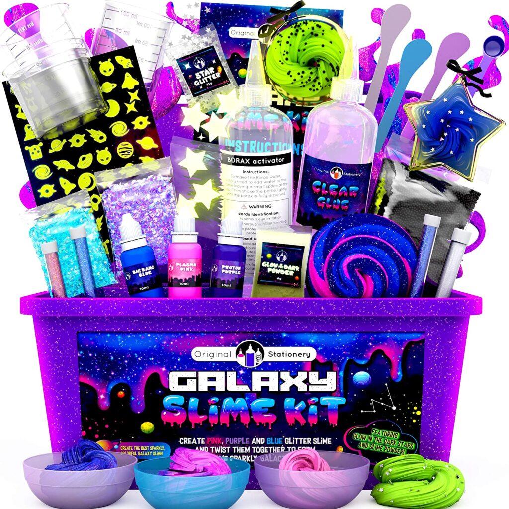 Slime que brilla en la oscuridad para niños, set con accesorios para crear tu slime brillante