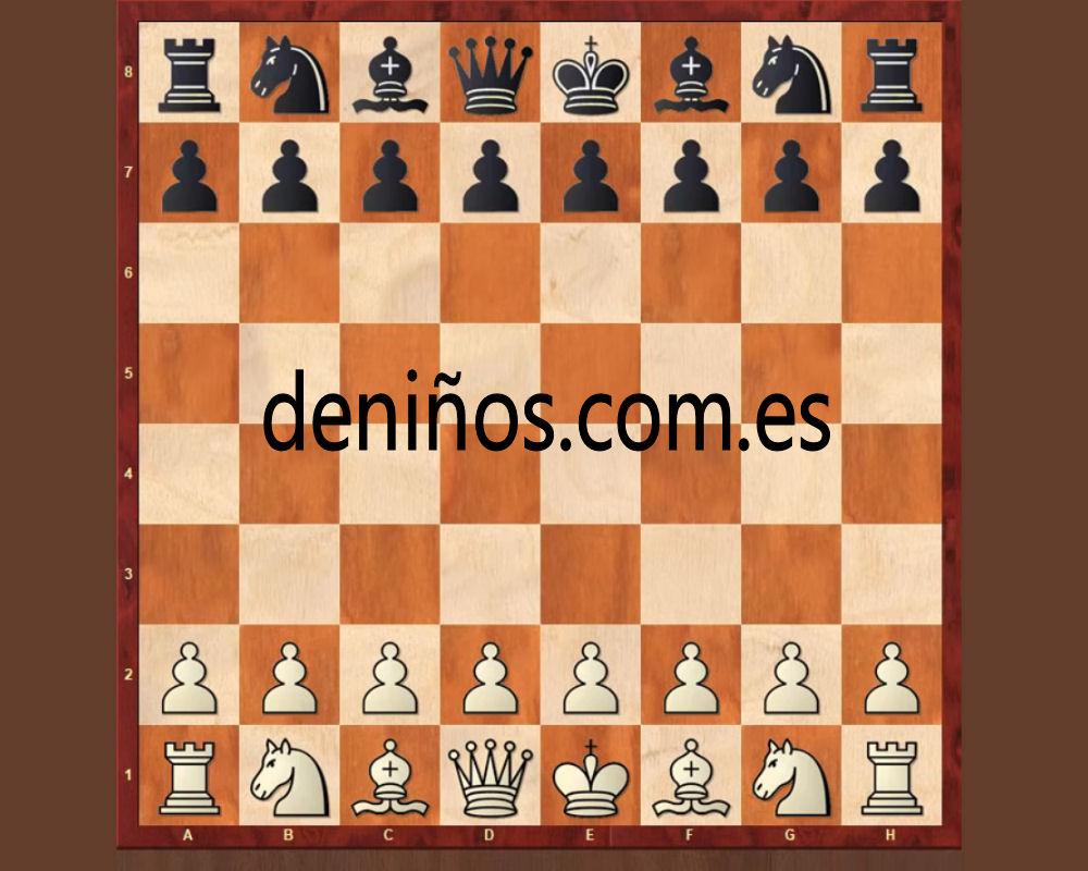 Tablero de ajedrez con las fichas colocadas correctamente