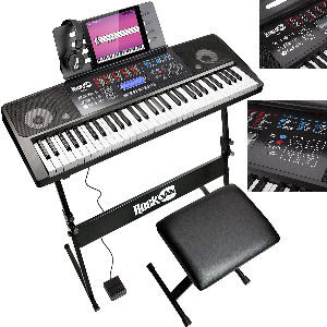 Teclado de piano con banco de soporte, auriculares y pedal de sostenido, con 200 sonidos