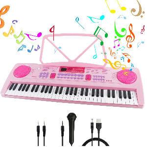 Teclado de piano rosa con 61 teclas para niñas y niños, piano infantil con atril