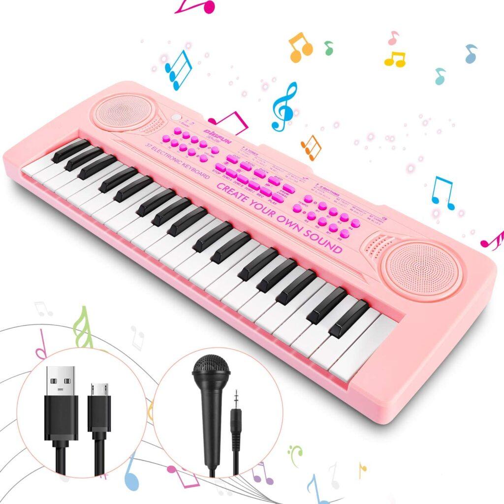 Teclado piano rosa con micrófono para niñas