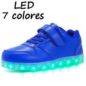Zapatillas para niños con LEDS y velcro con colores diferentes